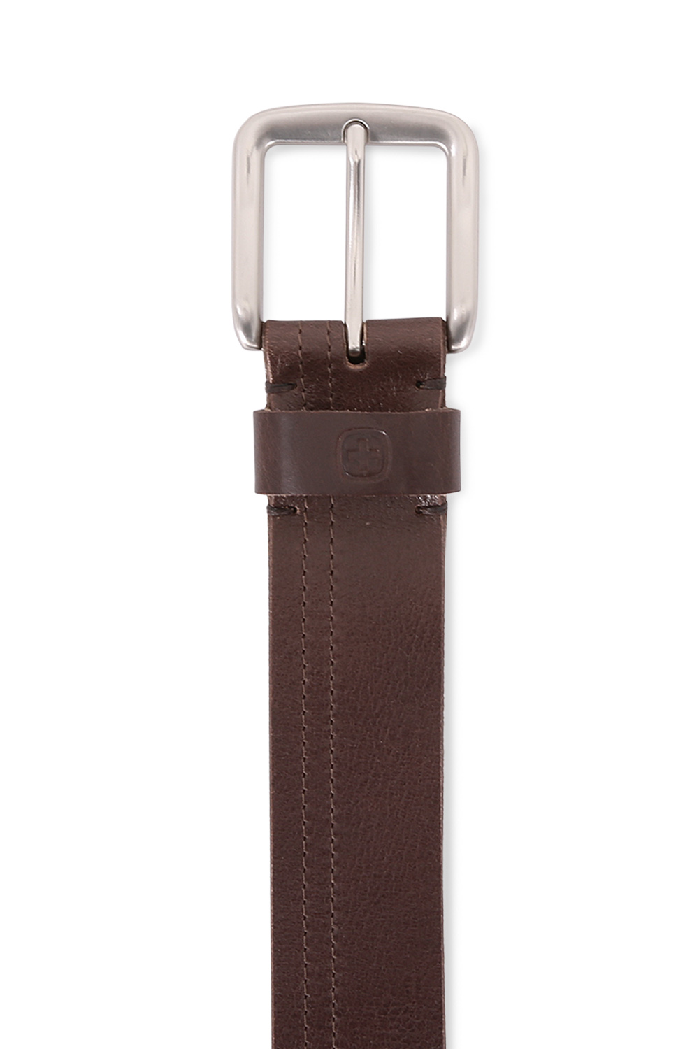 Square Buckle Brown Italian Leather Belt