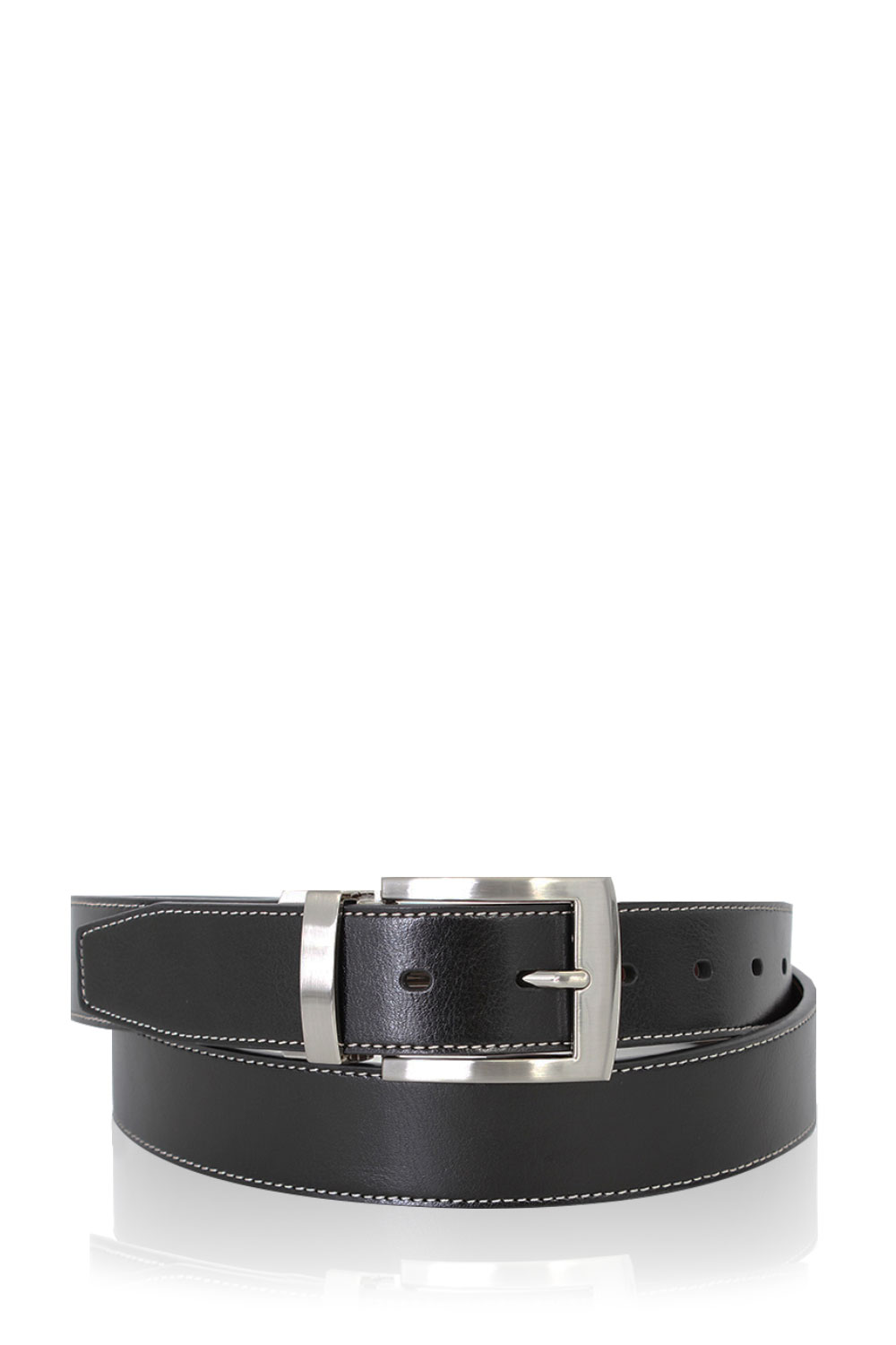 Mens Single Stitch Dressy Leather Belt XX-Large Black