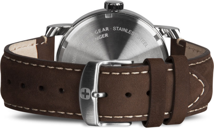 Swissgear Silver Watch with Cream Dial and Dark Brown Strap