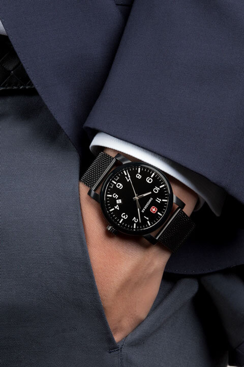 swissgear watch black with black dial black strap