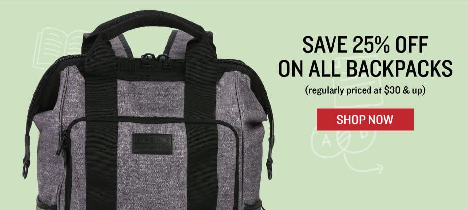 Shop Backpacks up to 25% off