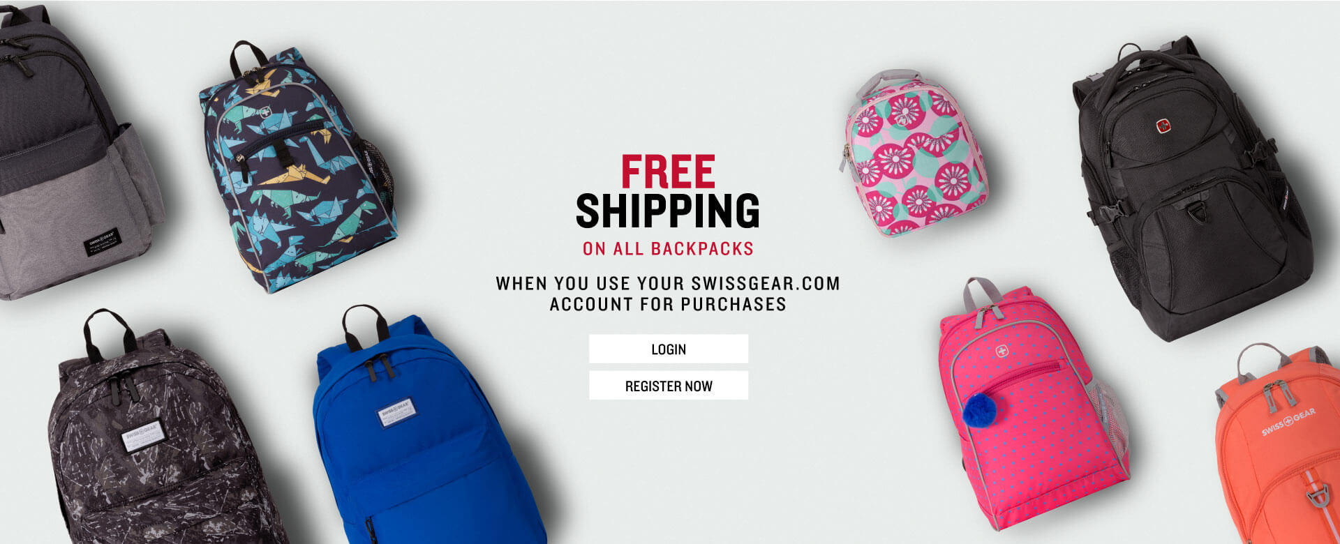 FREE SHIPPING ON BACKPACKS WHEN YOU CREATE A SWISSGEAR ACCOUNT